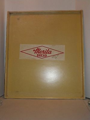 "Vintage Yellow Merita Bread Fiberglass Bakery Tray - Sept 1958 - 23.5"" x 20.25"""