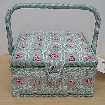 New-Hobby Gift-Small-Square-Vintage Rose Design Fabric Covered Sewing Box