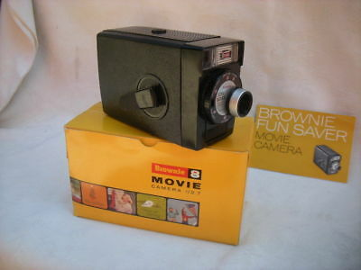 Vintage KODAK Brownie 8 MOVIE CAMERA In Box Instructions 1963 USA
