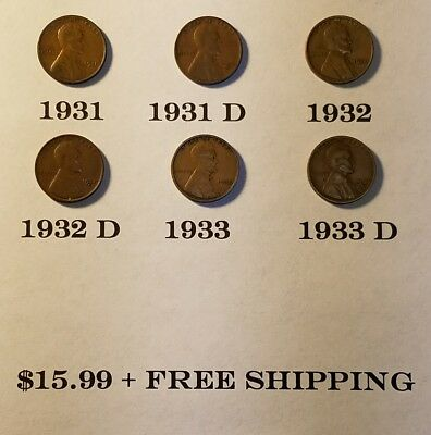 1931, 1931-D, 1932, 1932-D, 1933, 1933-D Lincoln Cent *Lot of 6 Coins* Free S&H