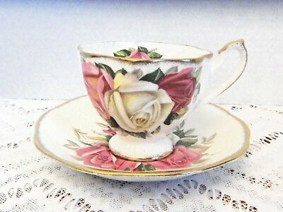 Vtg LADY SYLVIA Queen Anne Tea Cup & Saucer Bone China England Pinks/Cream Roses