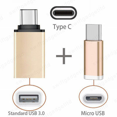 2in1 USB C to USB Female OTG Adapter + Micro USB to Type C Charging Converter
