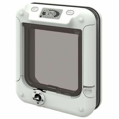 Cat Flap with Timer Control Lockable Pet Door - White