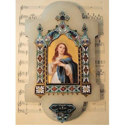 Antique French Champleve Enamel Porcelain Mary Magdalene Holy Water Font c1880