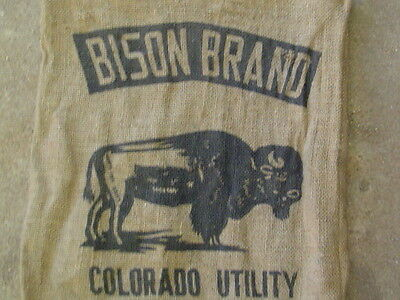 Vintage BISON Brand BURLAP FEED GUNNEY SACK Canon  Center Co gunny cloth farm