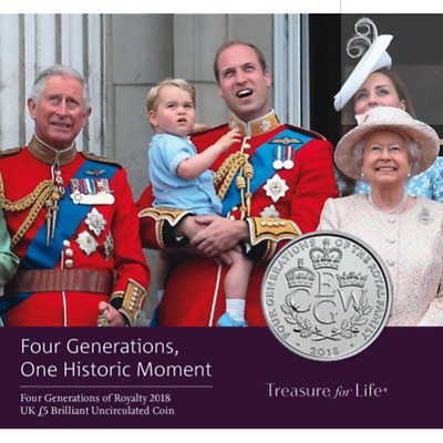 "2018 United Kingdom £5 BU Coin ""The Four Generations of Royalty"""