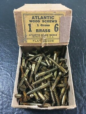 Vtg Atlantic #6 X 1 Inch Flat Head BRASS SLOTTED Wood Screws 111 box unused
