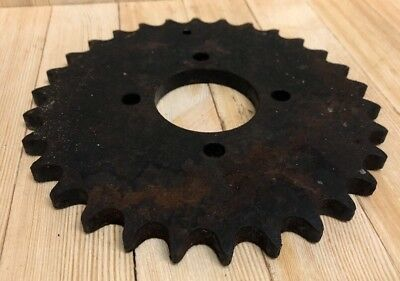 Vintage Cast Iron Metal Pulley Sprocket Gear Wheel Industrial Steampunk 7.5""