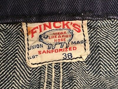 Vintage Finck's Herringbone Denim/Herringbone Twill Embroidered Shop Coat Bendix