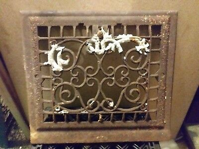 cast iron antique heating vent. Victorian style heat grate 14 1/2in x 13in