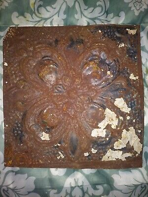 One Antique flur-de-lise tin ceiling tile. 12in x 12in