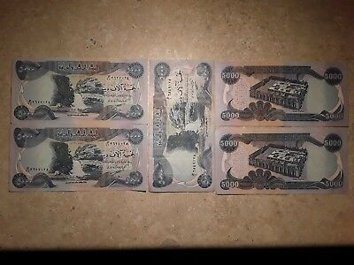 5 x 5,000 Iraqi Dinar notes.  New notes from Iraq. (Lot 0004)