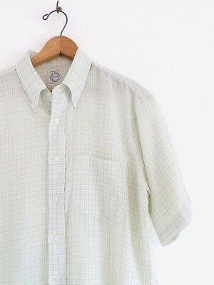 Vtg 60s ARROW Decton Oxford Green Plaid Mod Retro Rat Pack Button Up Shirt M L