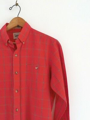 Vtg 80s LEE Red Check Retro Surf Skate Slim Fit Paper Thin Button Front Shirt S