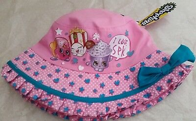 SHOPKINS Licensed bucket hat pink bow NEW sizes 51cm , 53cm ages 1-3 , 3-5 years