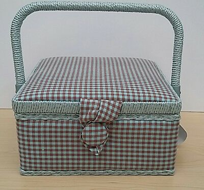 New-Hobby Gift-Small-Square-Vintage Gingham Design Fabric Covered Sewing Box