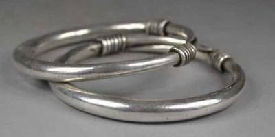 Collectible Decorated  Handwork Miao Silver Lucky Adjust Bracelet Bangle