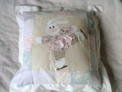 Handmade Ice Skating Bunny Patchwork Cushion - Easter Gift SALE Half Price