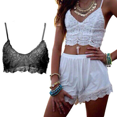 Lace Fashion Women Summer Sleeveless T-Shirt Tank Tops Cami Vest Crop Top Blouse