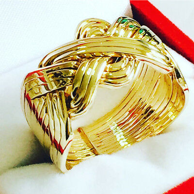 18k Yellow Gold Plated over Sterling Silver 12 Band Turkish Men Puzzle Ring