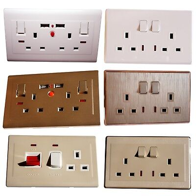 Double Wall Plug Socket 2 Gang 13A with / Without 2 USB Ports Screwless Plate UK