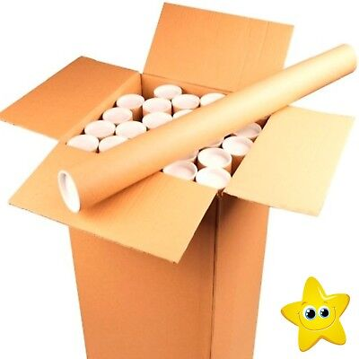 Strong Cardboard Postal Tubes A4 A3 A2 A1 Large Letter PIP with Plastic End Cap