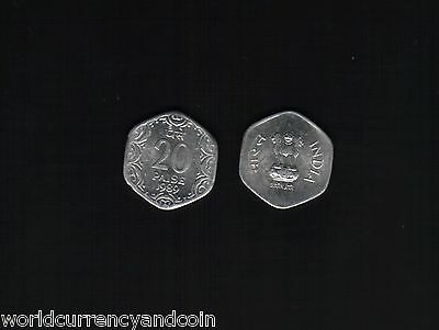 India 20 Paise 1982 - 1997 Hexagonal Unc Indian Currency Coins Lot Of 100 Pieces