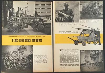 Antique Fire Engines 1958 Museum pictorial 19th century Pumper Carriage Cutter