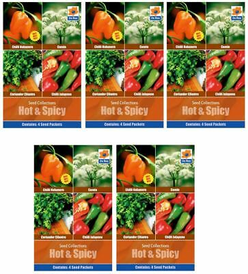 5 PACKETS of HOT & SPICY Garden SEED COLLECTIONS - Chilli, Cumin, Coriander