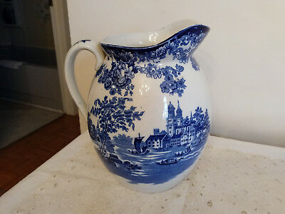 ANTIQUE COLONIAL POTTERY Large Blue Pitcher Pot Marked STOKE ENGLAND T0G0?