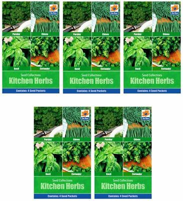 5 PACKS of KITCHEN HERB SEED Collections - Parsley, Chives, Basil, Coriander