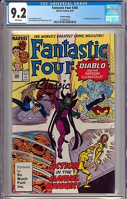 Fantastic Four #306 CGC 9.2 NM- RARE 2nd Print So Much Fun Variant WHITE PAGES