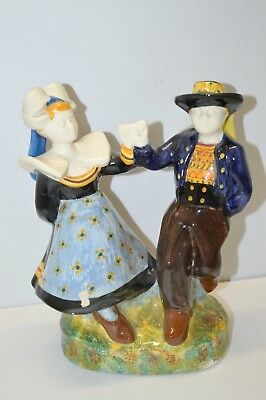 Couple Danseurs Pont Aven Tin Ar Gall Ceramique Quimper Hb Collection Satuettes