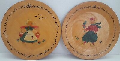 "Vintage Pair Wooden Dutch Plates Hand Painted 8"" Diam Boy and Girl"