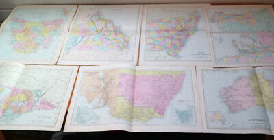 x 7 ANTIQUE MAPS of AUSTRALIA/TASMANIA Bacons C.1890s QUEENSLAND Etc.