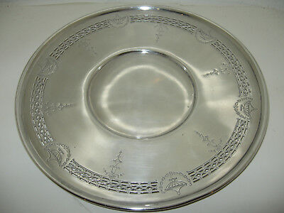 "Vtg 10"" Round BENEDICT DECO SILVER PLATE SERVING TRAY PLATTER Reticulated USA"