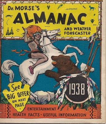ORIGINAL 1938 DR. MORSE'S ALMANAC and WEATHER Forecaster Health Facts
