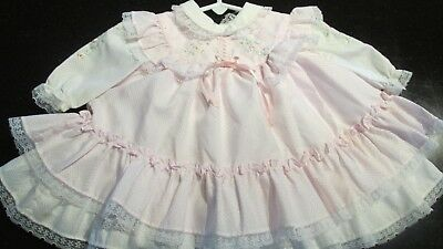 Vintage Pink & White Frilly Open Back Baby/Toddler Party Dress with Pinafore