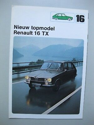 Renault 16TX folder depliant brochure Prospekt Dutch text 1975 6 pages