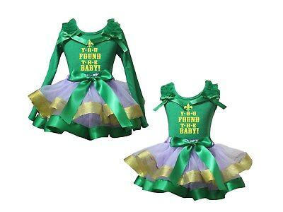 You Found The Baby Green Top Lavender Gold Green Trim Skirt Girls Outfit NB-8Y