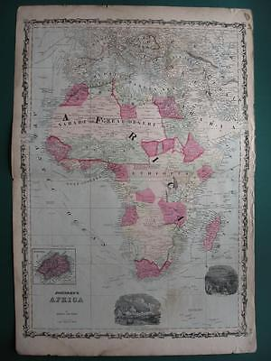 1860s - JOHNSON & WARD - Map AFRICA Vignette Cape Town & Durban  Inset St Helena