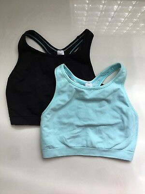 Ivivva by Lululemon sports bra size 12 lot of 2 crop top racerback black blue