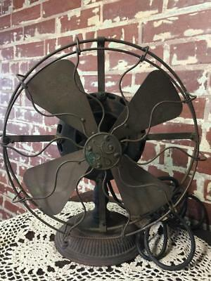 Antique General Electric GE Brass Blade & Cage Cast Iron Pancake Fan Fancy Base