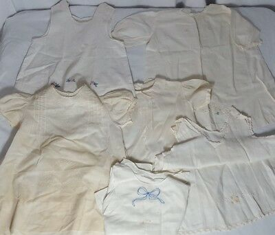 Lot Antique Victorian Child Baby Large Doll Christening Gowns Whites Embroidery