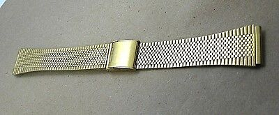 Vintage gold tone stainless steel watch band 18mm two piece smooth fits Seiko or