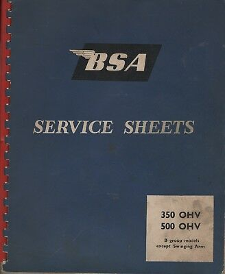 BSA 350,500 OHV Motorcycle Service Sheets Manual 1963