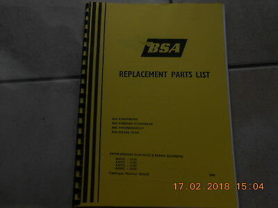 bsa replacement parts list A65 & A50 Photocopied in ringbinder