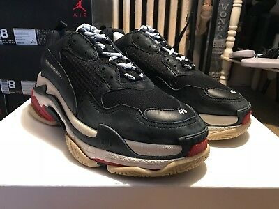 363088eeabaf DS Balenciaga Triple S Trainers Sneakers Black Red Bred US 12 EUR 45 Men In  Hand