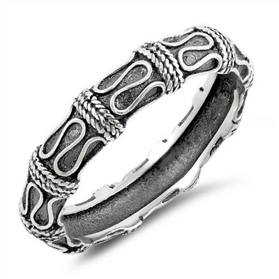 Oxidised 925 Sterling Silver Bali Style Stacking Stacker Band Ring 5 mm