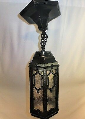 Antique Vintage c1910 Cast Iron Exterior Pendant Light Restored